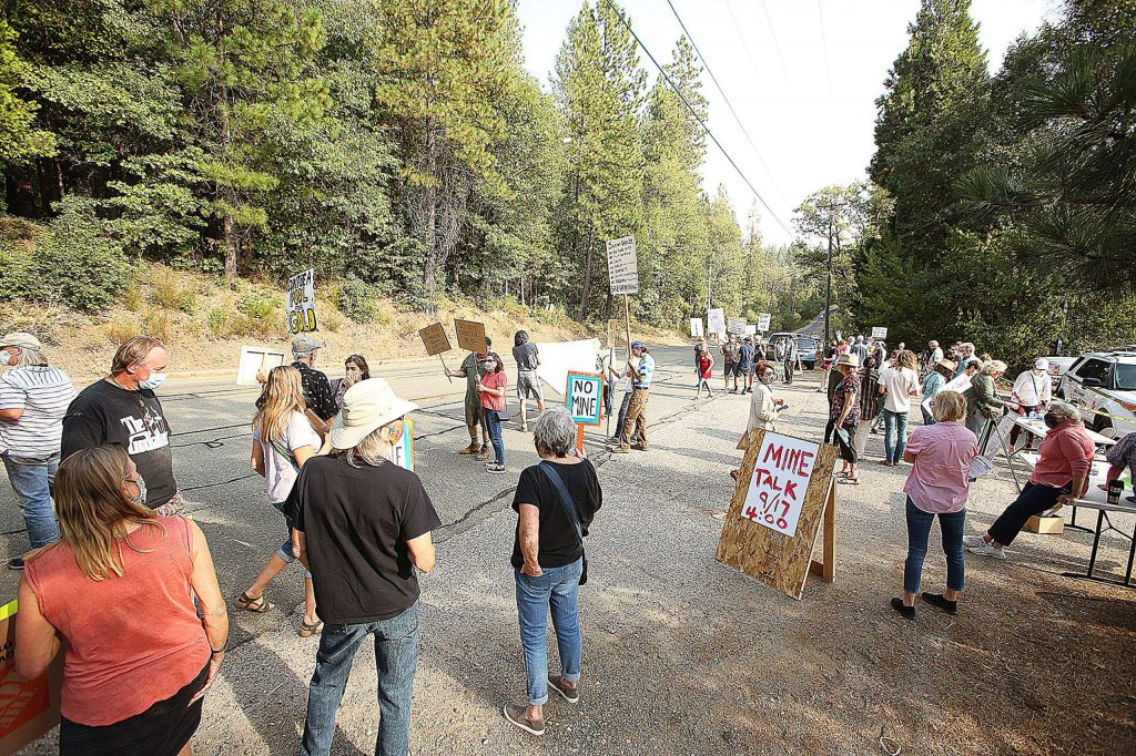 Protesters gathered along the Brunswick Road right of way near the entrance to the Idaho Maryland Mine.