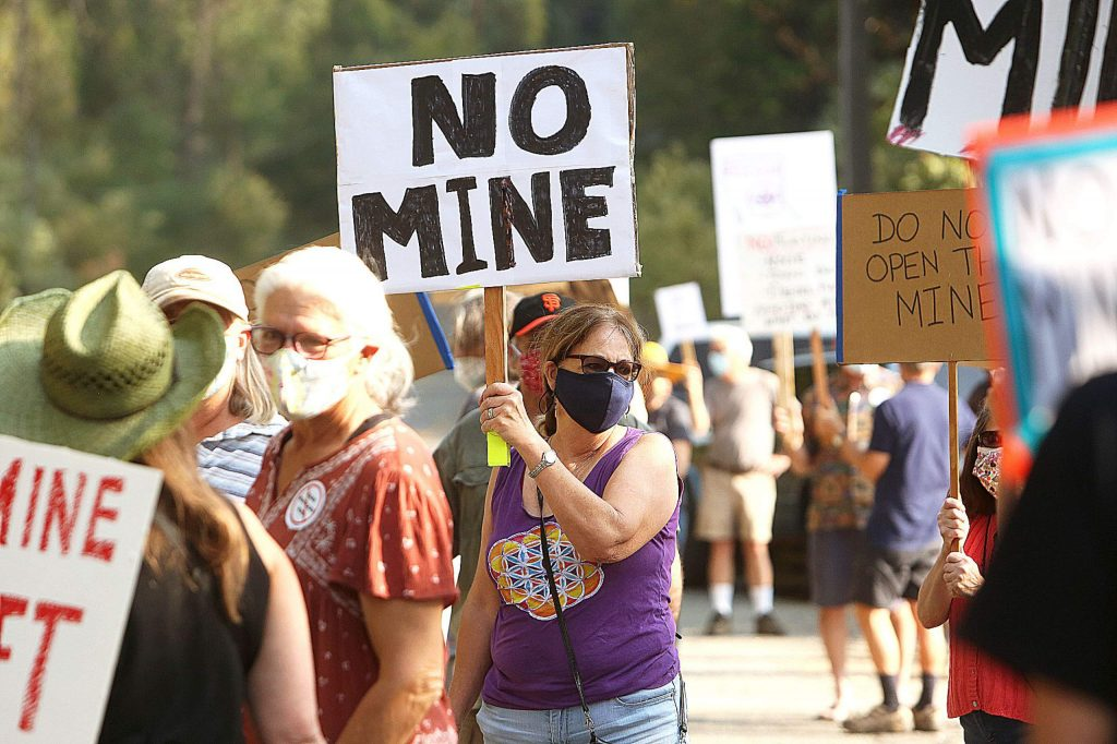 About 60 protesters gathered along Brunswick Road in front of Rise Gold's access to the Idaho Maryland Mine Thursday afternoon to show their opposition to the corporation's plans to reopen the gold mine. The project's environmental impact report scoping period, a discussion of what should be included in the report, recently closed..