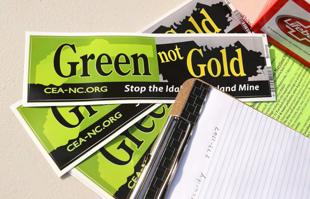 Literature and bumper stickers were also made available during Thursday's protest against the reopening of the Idaho Maryland Mine.