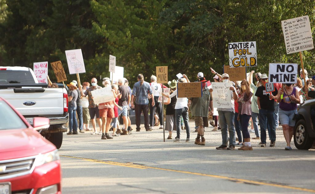 Protesters against the Rise Gold Idaho Maryland Mine demonstrated along Brunswick Road.
