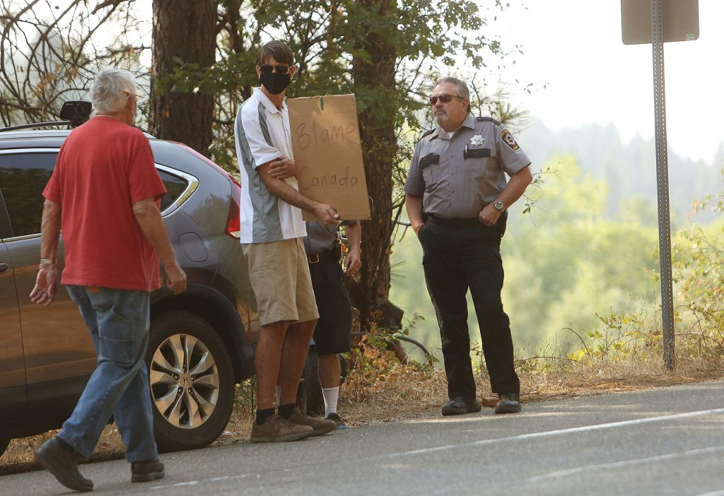 A pair of Gold Country Security guards were on hand and close by to protect Rise Gold's holdings on the Idaho Maryland Mine during Thursday afternoon's protest.