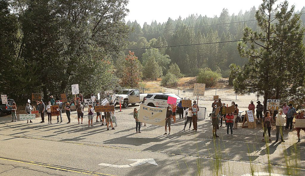 Dozens of people lined Brunswick Road near the Idaho Maryland Mine to show their opposition of Rise Gold's plans to reopen it.