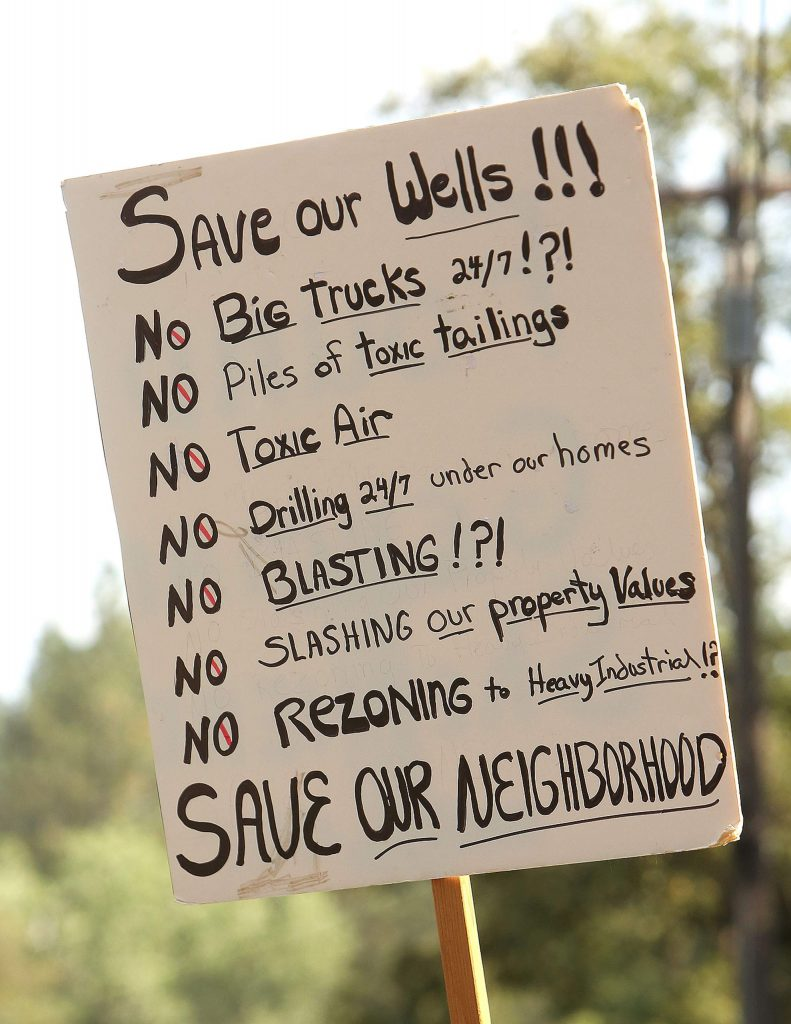 A protesters sign details some concerns regarding the reopening of the Idaho Maryland Mine in Grass Valley.