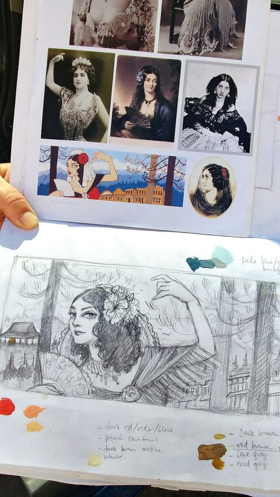 Mural artist Ursula Young shows her sketch book and photos used as reference for her mural going up on the 100 block of Neal Street this week. Montez was a stage dancer in the area during the gold rush and lived in Grass Valley from 1853 to 1855.