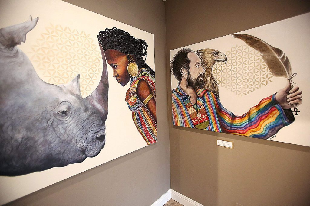 Resident artist Niwan Yod's artwork can be seen throughout the space on Broad Street in Nevada City.