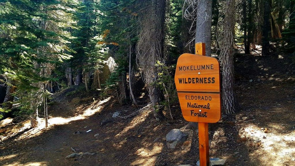A wilderness sign can be seem along the Emigrant Lake Trail in Alpine County.