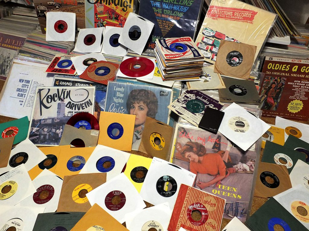 Part of Brian Lee's record collection, which includes more than 18,000 singles, also known as 45s.