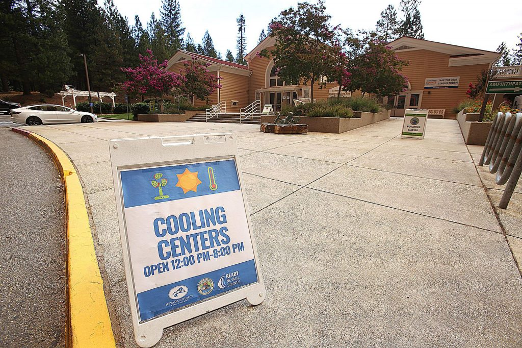 The Madelyn Helling Library in Nevada City was open Tuesday as a cooling center providing an air-conditioned space, as well as cold drinks and Wi-Fi. County officials will be monitoring the situation to decide whether to open today.