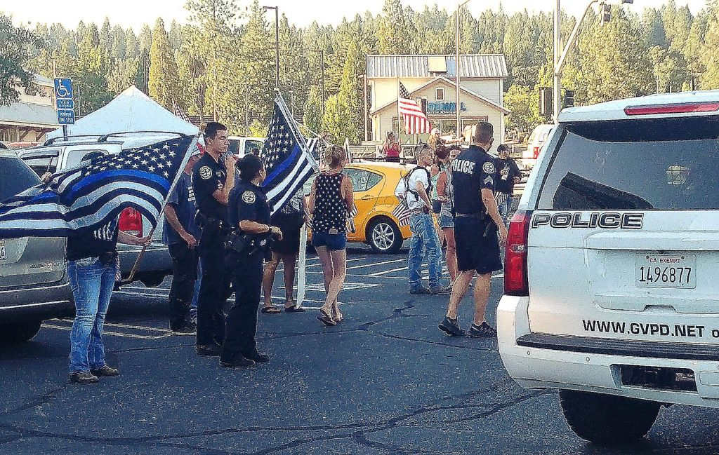 Grass Valley police responded to reports of an altercation at a Back the Blue rally at Sutton and Brunswick Road on Aug. 12 in this archive photo.