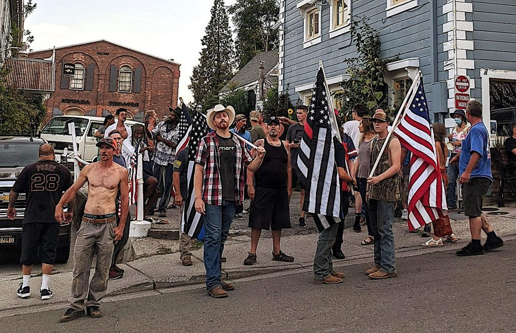 A group of 15 to 20 counter-protestors showed up Aug. 9 to block a Black Lives Matter march through Nevada City.