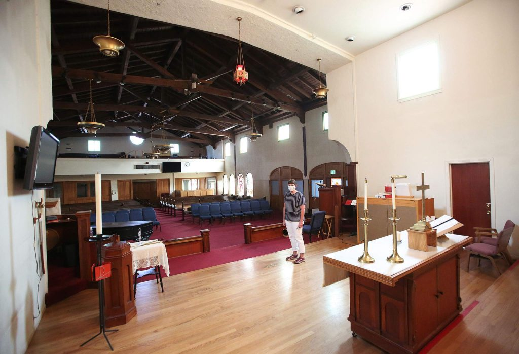 Pastor Love started at Grass Valley United Methodist Church when indoor services were suspended and has yet to perform a service in the church's sanctuary.
