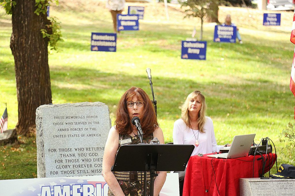 Sierra Nevada Memorial Hospital Foundation Executive Director Kimberly Parker gave some words during Saturday's Remembrance Day ceremony.