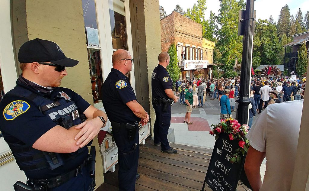 Nevada City Police Officers were close at hand during Saturday's vigil to be able to offer any assistance in the face of counter protesters.