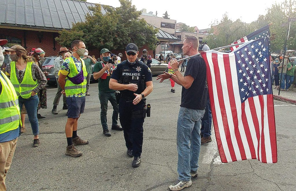 Nevada City Police officers were on hand to diffuse any potential altercations between peaceful protesters and potential counter protesters.