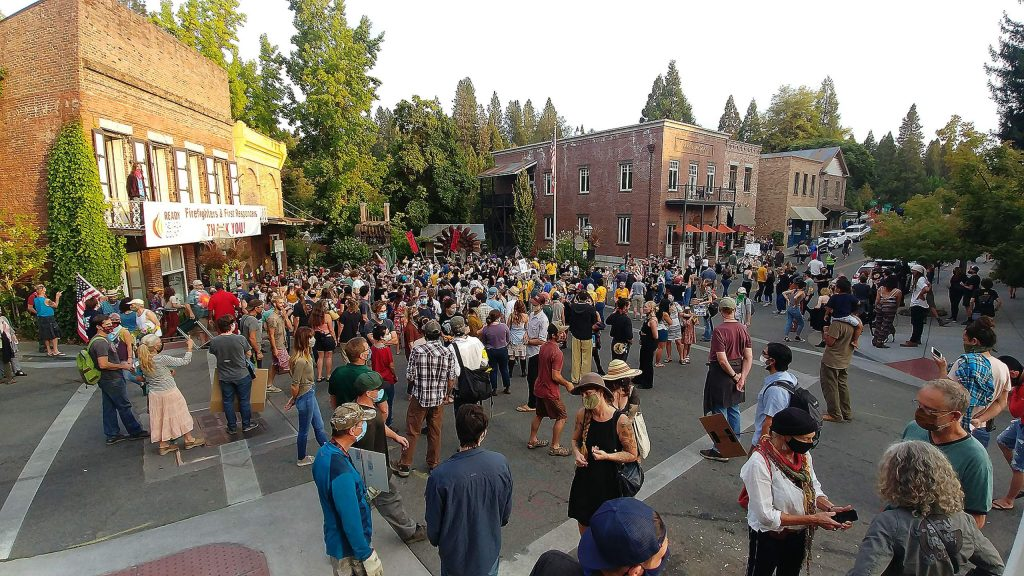Hundreds of community members showed up to Robinson Plaza in Nevada City for Saturday evening's vigil to honor black lives lost.