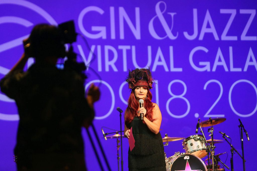 Camera crews worked to film every angle of Saturday's Gin and Jazz Virtual Gala live streamed on stage at the Center for the Arts where the goal of raising $75,000 was met.