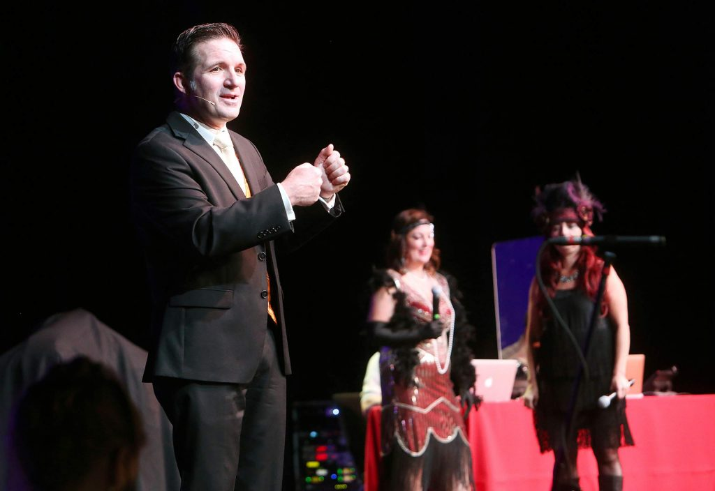 Auctioneer Greg Quiroga helped facilitate the majority of Saturday's Virtual Gala at the Center for the Arts.