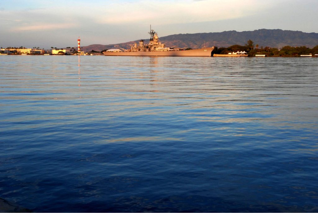 The USS Missouri is shown on the 75th anniversary of the Japanese attack in Pearl Harbor, Hawaii.