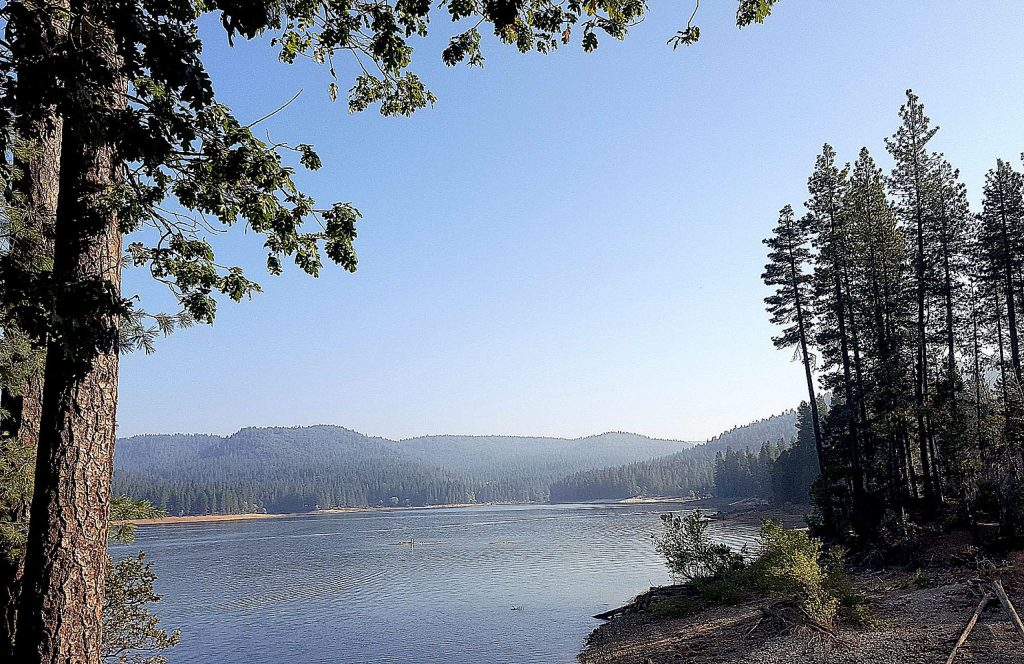 A light haze sits over Scotts Flat Lake on the first day of fall.