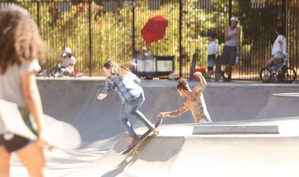 Skateboarders of all ages and skill levels ride alongside one another Friday at the Condon Skate Park.