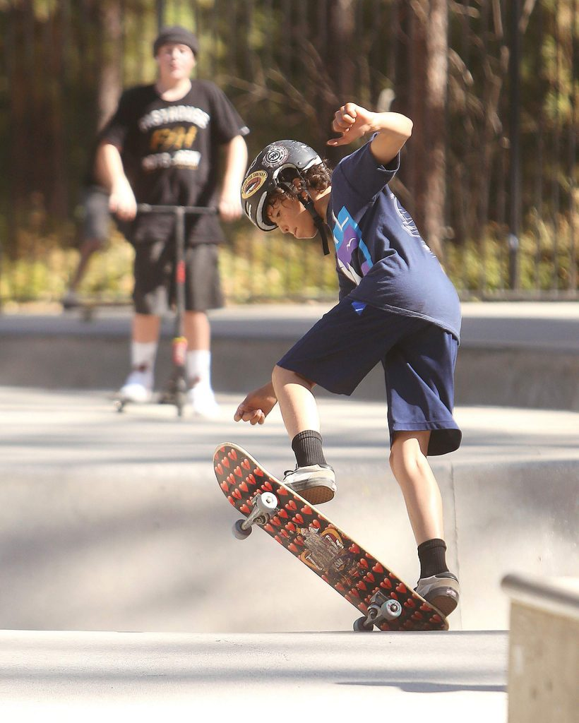 Temperatures were nice, air quality was great, and the sky was blue as kids skate the day away Friday at the Condon Skate Park.