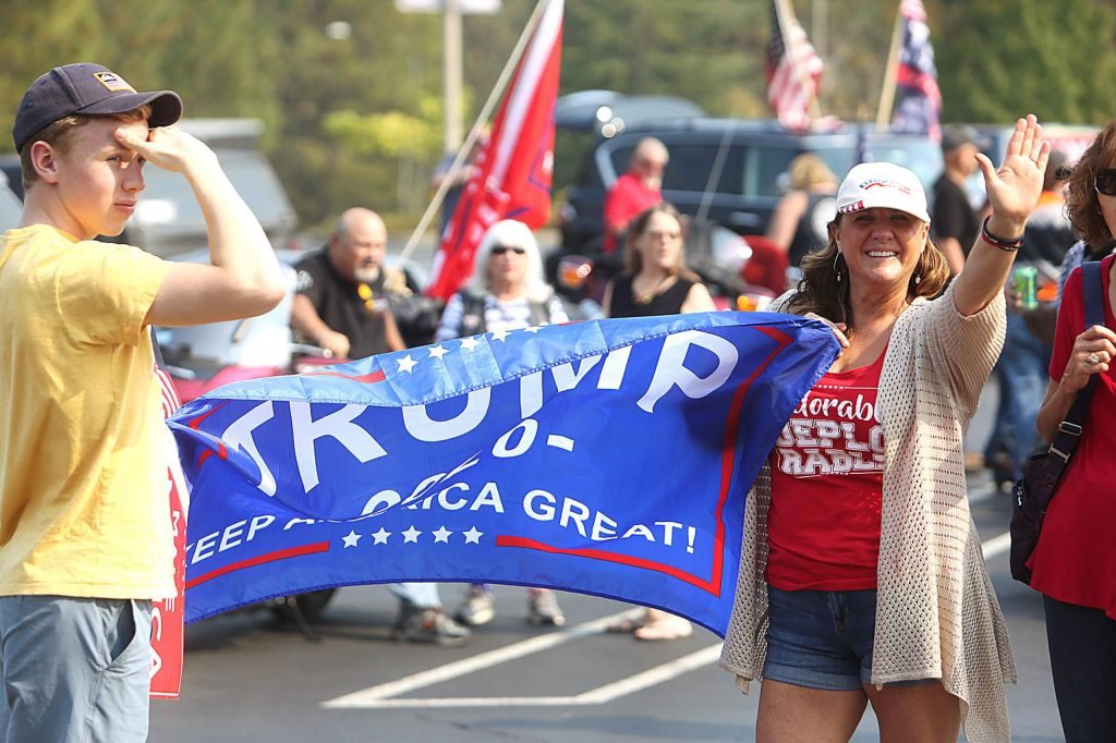 Pro-Trump caravans from Nevada City, Lake of the Pines and Lake Wildwood areas all convened upon the Grass Valley Kmart off McKnight Way Saturday afternoon.