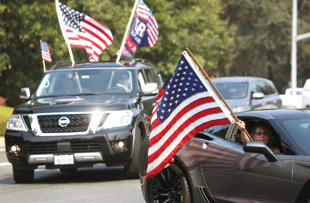 A pro trump car rally descended upon the K-Mart parking lot to join the Back the Blue Nevada County demonstrators Saturday afternoon.