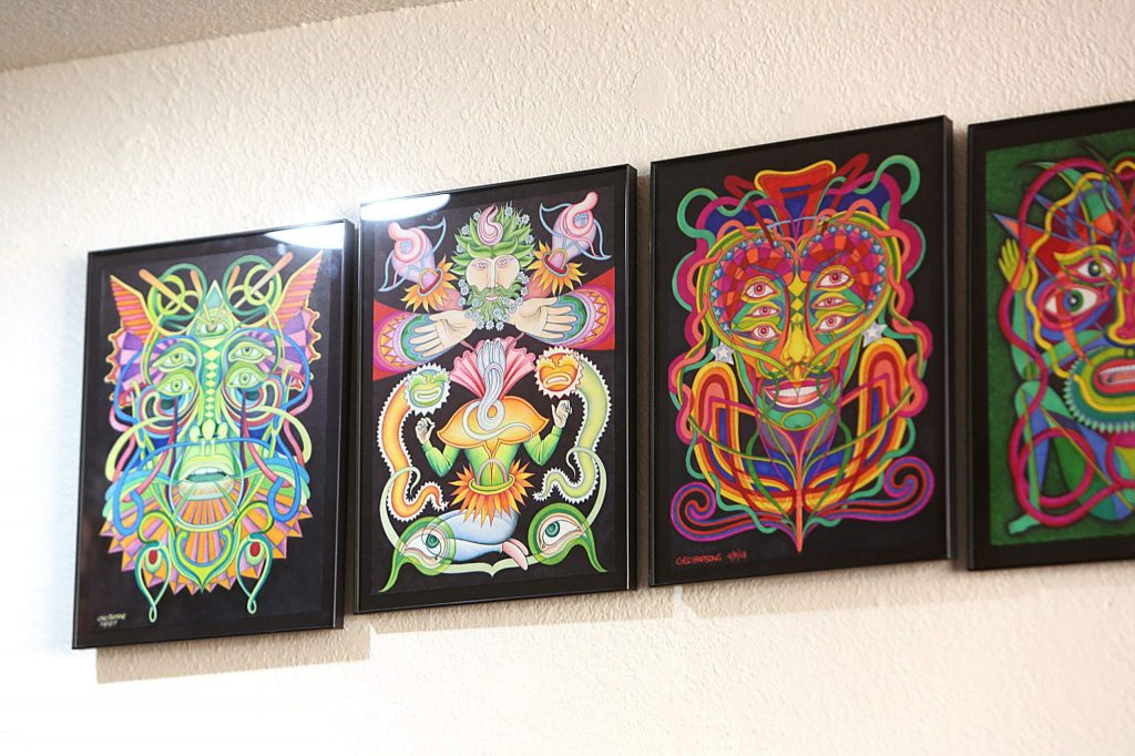 Some of artist George Parsons psychedelic artwork is now on display.