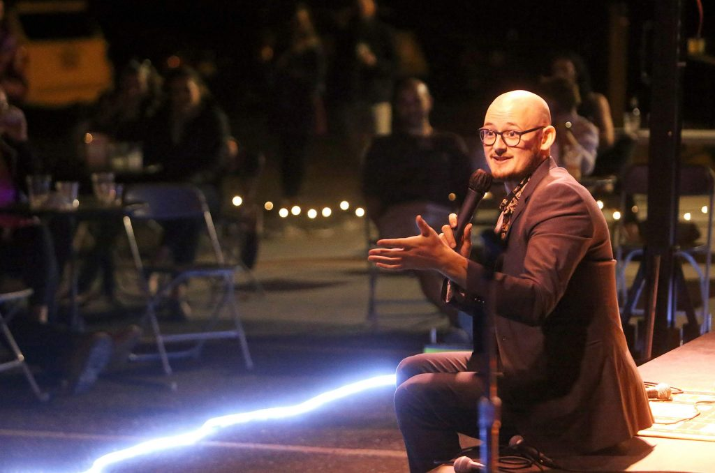 Five Nevada County comedians took to the Deer Creek Stage during Saturday's event, including MC Trevor Wade, who included members of the audience in his stand-up performances.
