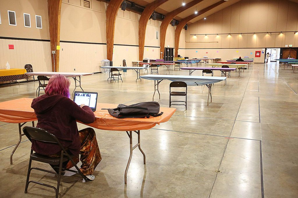 Western Nevada County high school student Ella Lock focuses on her science work Wednesday from the new student work space set up inside of the main building at the Nevada County Fairgrounds.