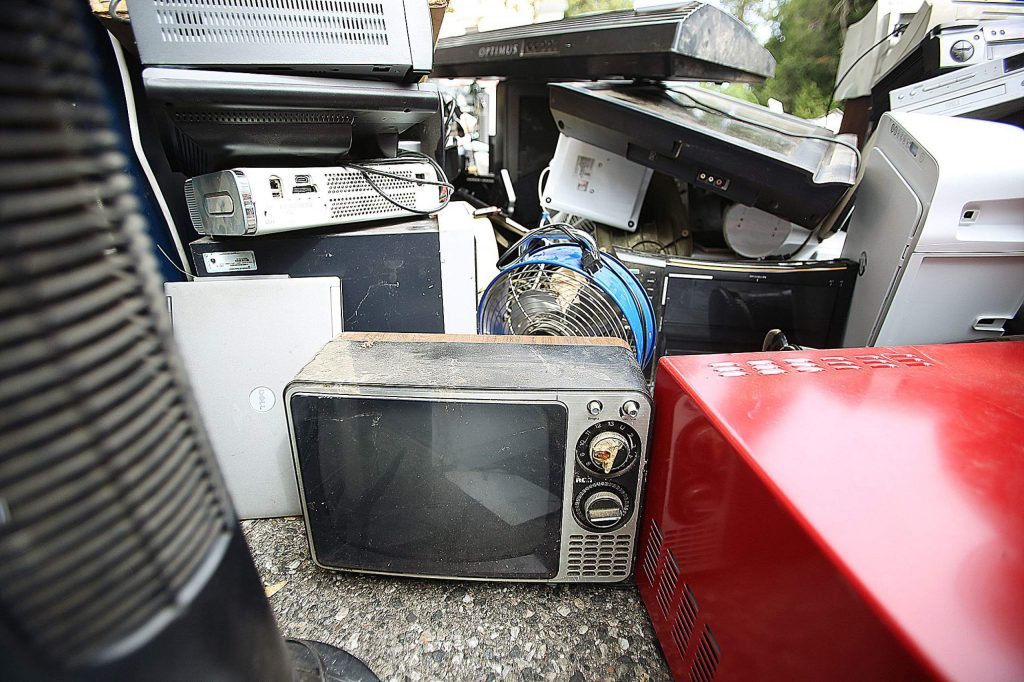 Items big and small, new and old, could be found in the pile of e-waste electronics gathered to be recycled by Mount St. Mary's volunteers Saturday at the school's parking lot.