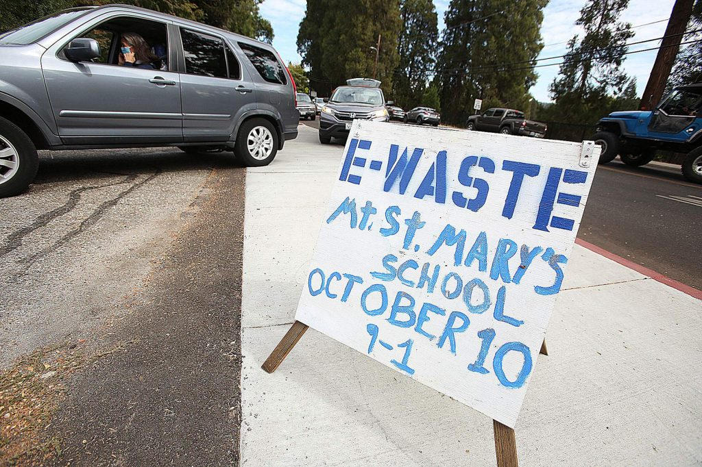 The annual Mount St. Mary's Academy e-waste recycling event held Saturday was highly attended this year. Organizers are not sure if the high participation is due to the pandemic.