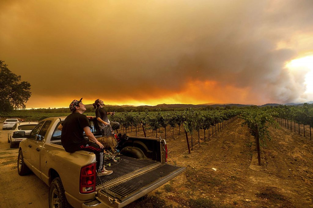 Thomas Henney, right, and Charles Chavira watch a plume spread over Healdsburg as the LNU Lightning Complex fires burn, Aug. 20.