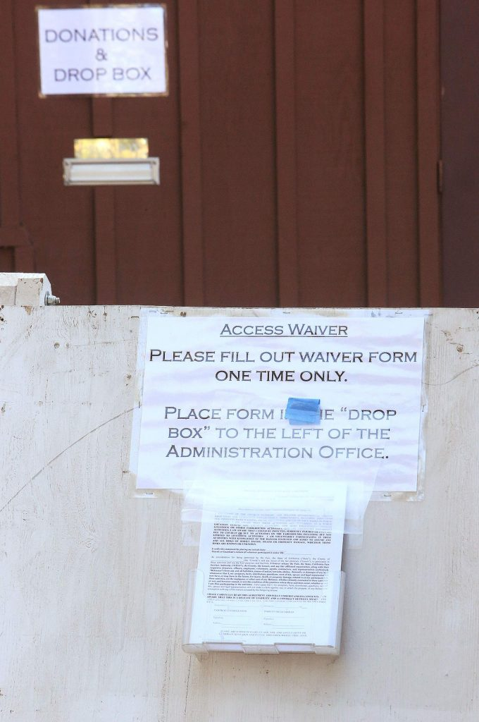 A one-time access waiver at the Gate 1 entrance needs to be signed by visitors to the Nevada County Fairgrounds and dropped in the main office drop box before entering.