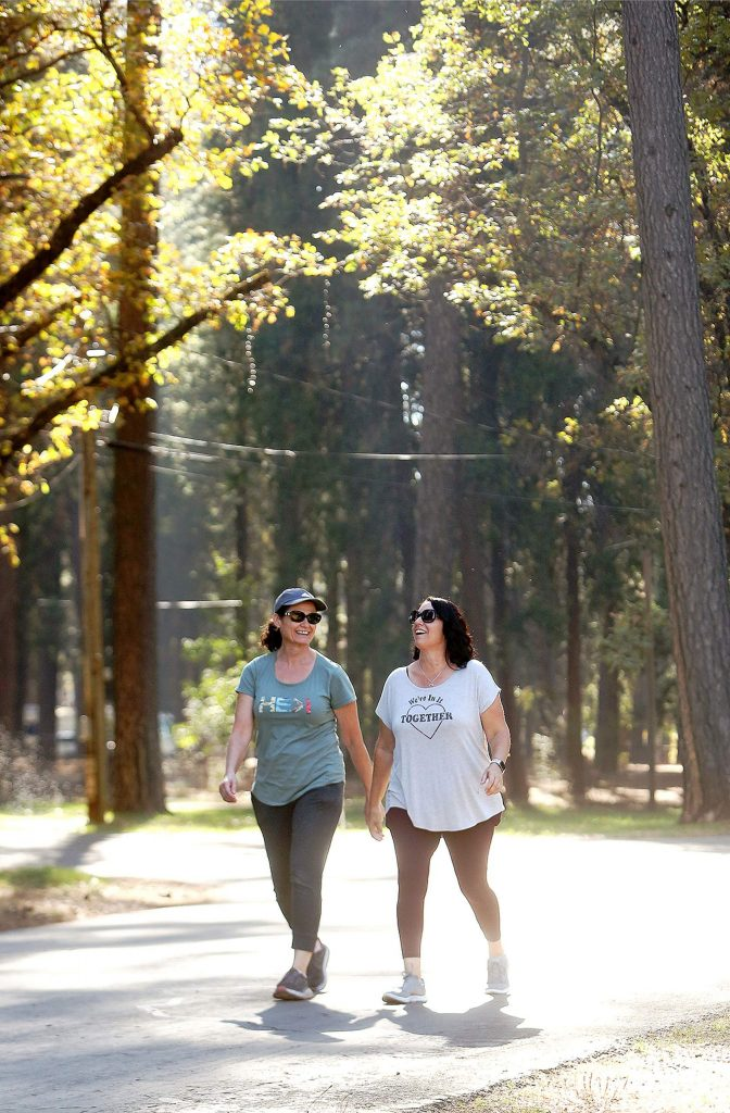 Grass Valley's Jacki Schroeder, left, and Michele Levens were happy to take a stroll on the recently reopened Nevada County Fairgrounds Thursday afternoon. The grounds are open for walkers and day use from 8 a.m. to 4 p.m.