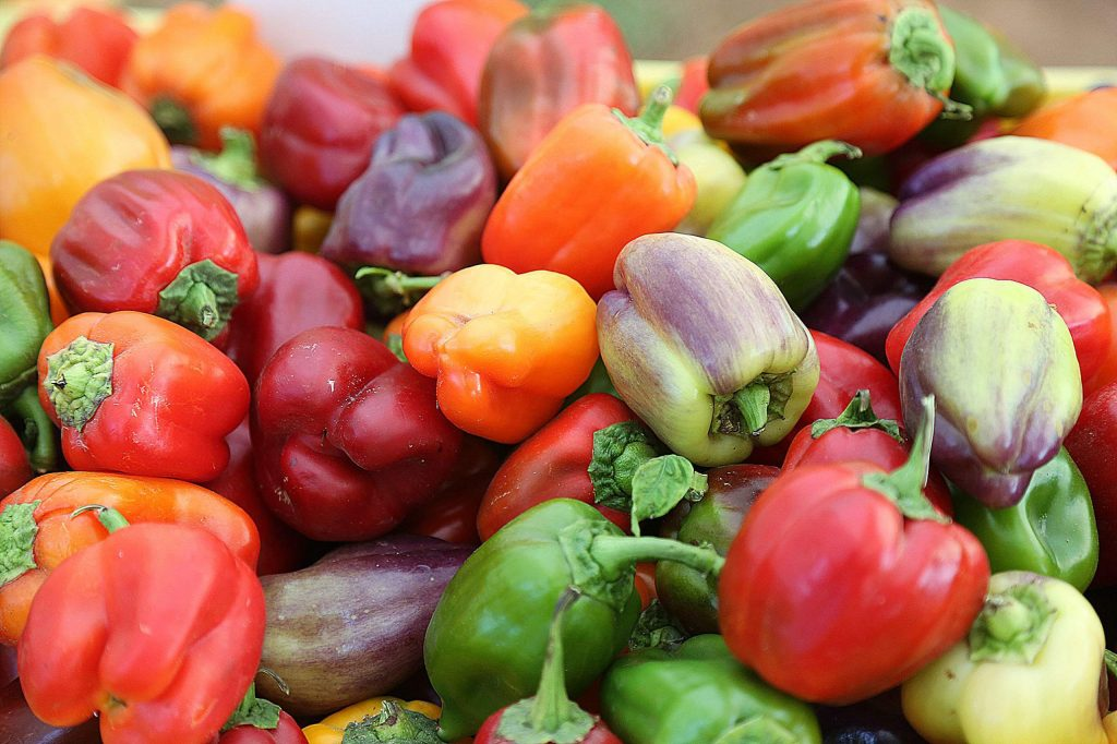 A multicolored array of fresh bell peppers can be found from the Xiong Farms booth at the Western Gateway Park farmers' market.