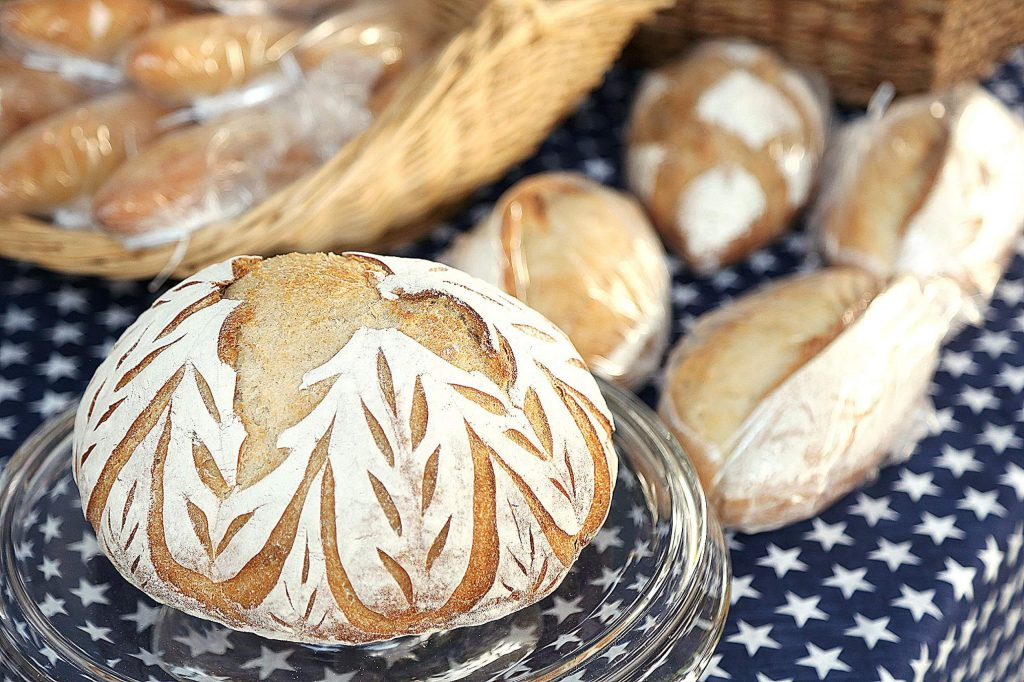 Some artistic scoring can be seen on the sourdough breads of John's Bread based out of Lake Wildwood.