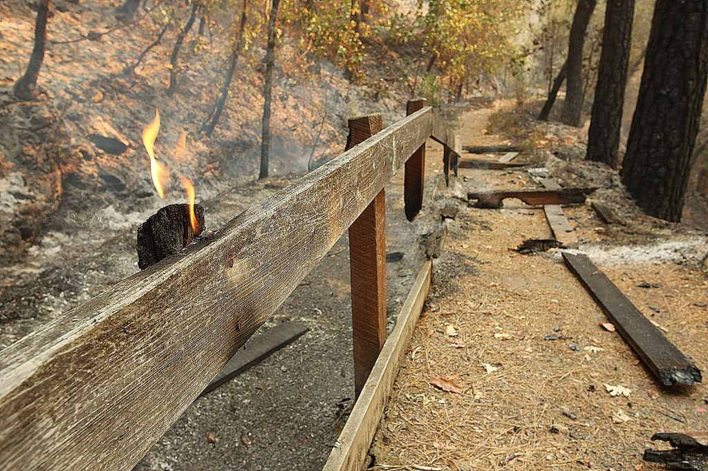 Essential structures lost in the Jones Fire including the wooden flumes, overlook platform, benches, handrails and the Rush Creek Ramp will be revisioned.