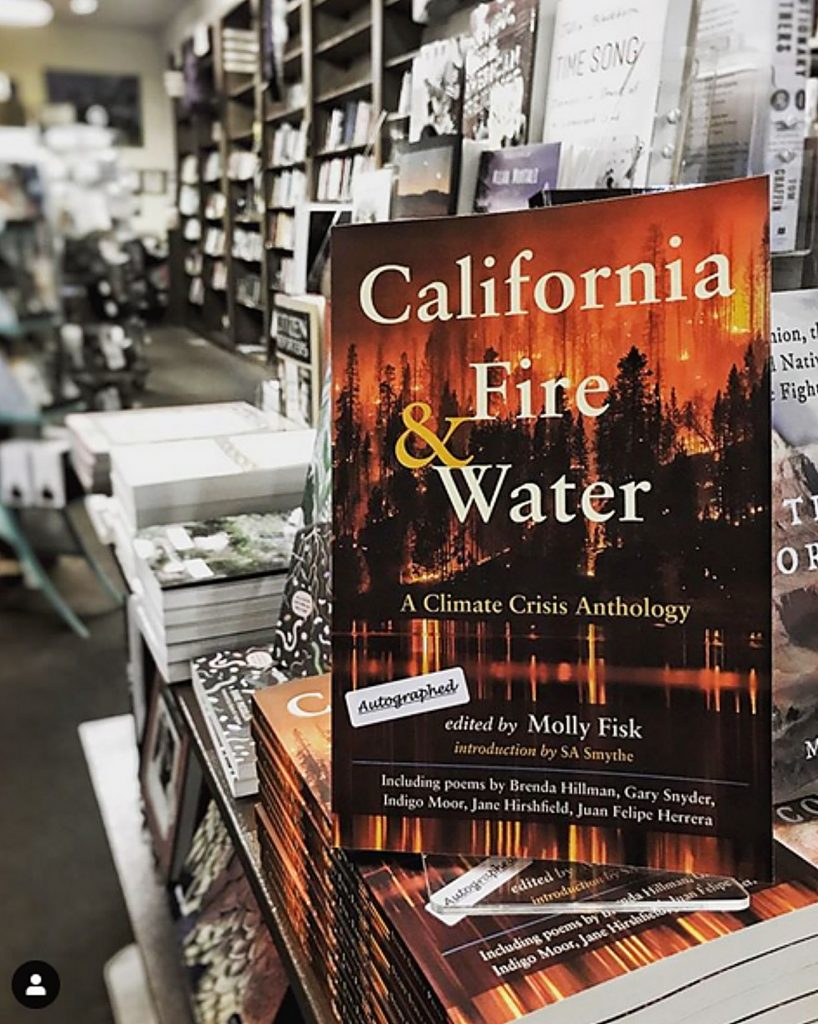 """A copy of """"California Fire and Water: A Climate Crisis Anthology"""" on display at The Book Seller in downtown Grass Valley."""
