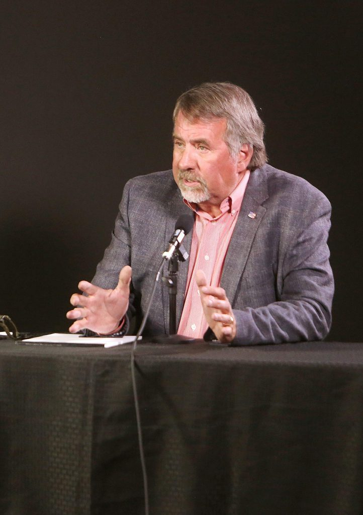 1st Congressional District Rep. Doug LaMalfa takes part in an online League of Women Voters debate with challenger Audrey Denney Wednesday at Nevada County Media's studios in Grass Valley.