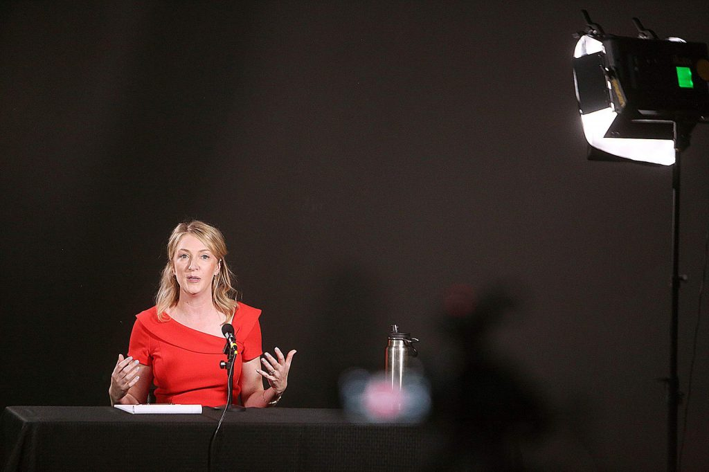 Audrey Denney speaks into a camera during Wednesday evening's online debate between herself and incumbent Doug LaMalfa.