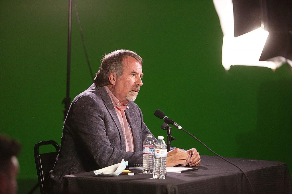 California District 1 U.S. Rep. Doug LaMalfa takes part in an online League of Women Voters debate with challenger Audrey Denney Wednesday at Nevada County Media's studios in Grass Valley.