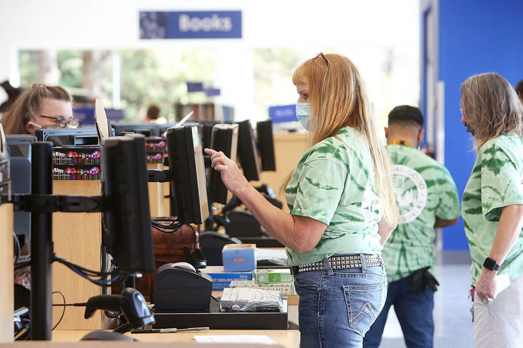 The new Goodwill store is open at 1145 Sutton Way,  Grass Valley, as checkers were busy helping customers on their first day of business Tuesday. The store is still looking to hire employees.