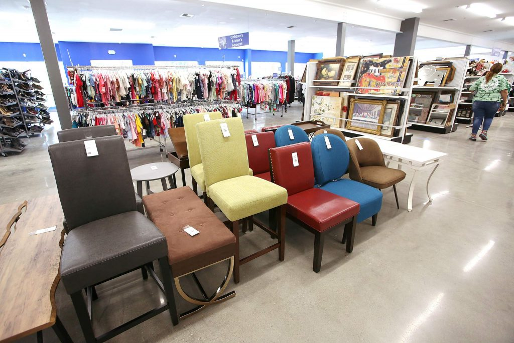 Many new items, including a selection of colorful furniture, are for sale at the new Grass Valley Goodwill store.
