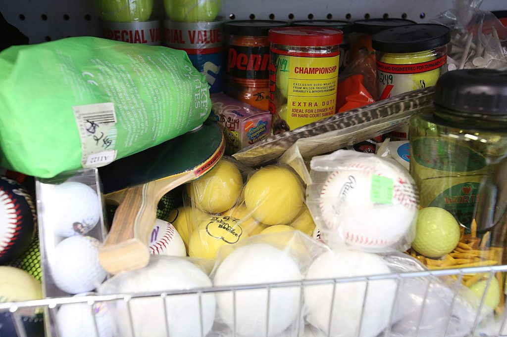 Tennis balls, softballs, ping pong balls, and many other sporting good supplies can be found at the new Grass Valley Goodwill.