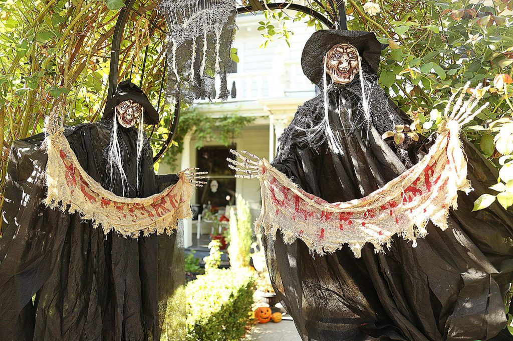 While some Halloween decorations have begun to go up in the popular Nevada City trick-or-treating neighborhood of Broad and Pine streets, others have kept their decorations down, with plans to be dark and blacked out on Halloween night to deter visitors.