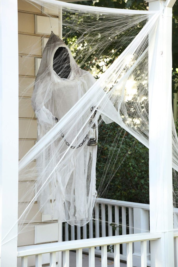 A ghastly ghoul floats above a porch along Broad Street in Nevada City.