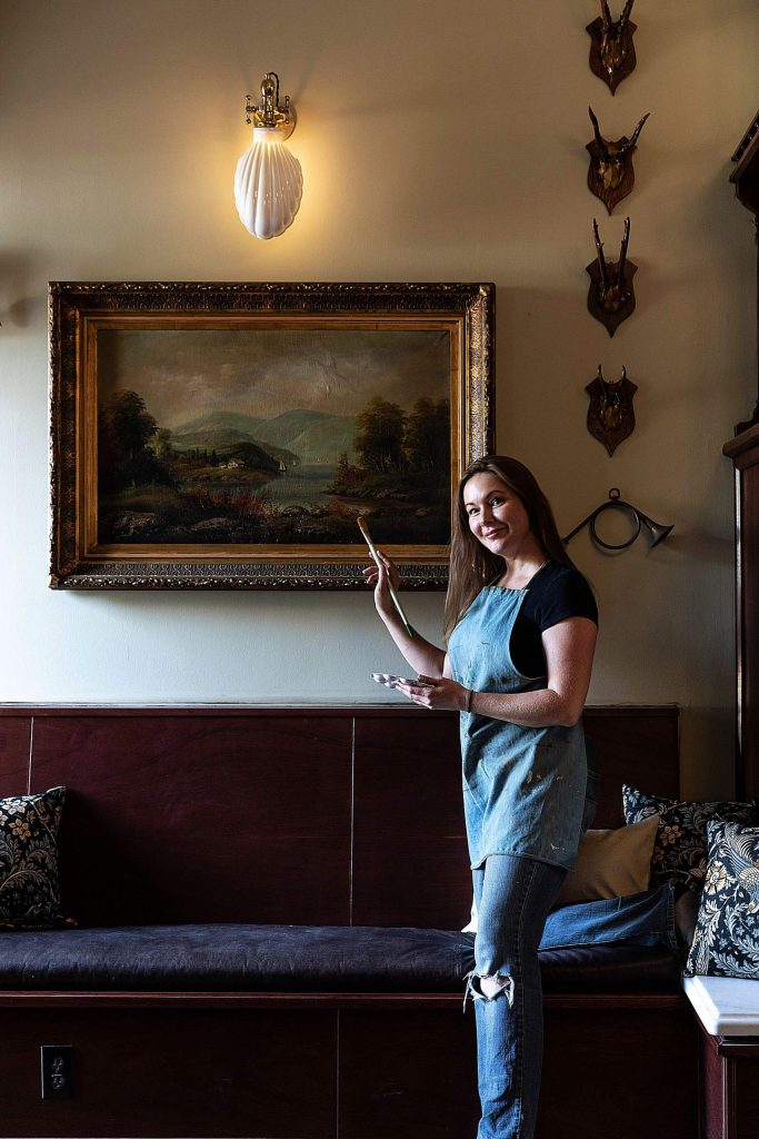 Sonya Krimsky helped with art restoration and framing of historical works of art in preparation for the Holbrooke Hotel's reopening next week.