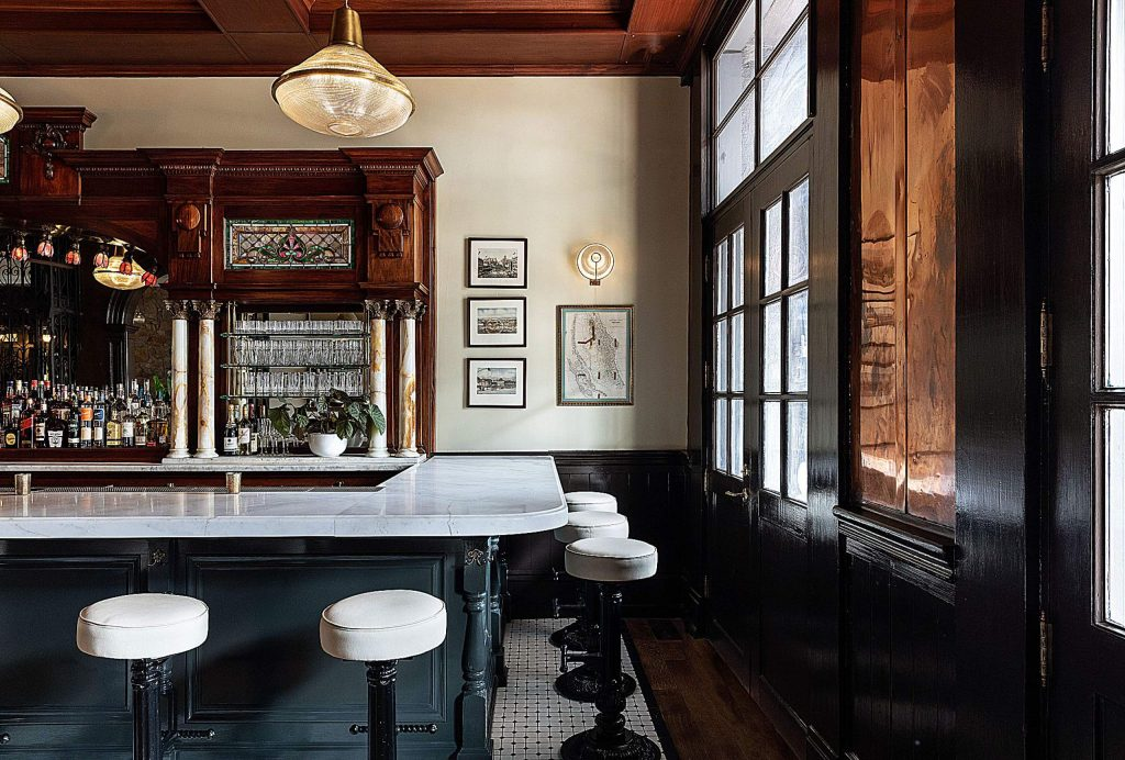 The Golden Gate Saloon features a bright new marble bar top.