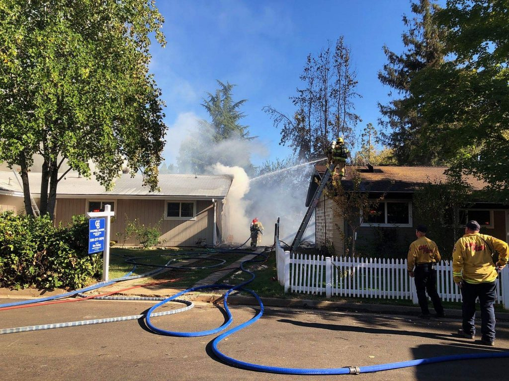 One person was evaluated for burns by paramedics on scene, and no firefighters sustained injuries while responding to this fire, authorities said.
